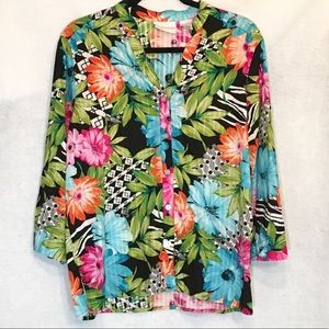 Alfred Dunner Floral Button Down V Neck Blouse